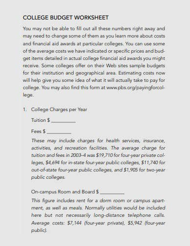 college budget worksheet template