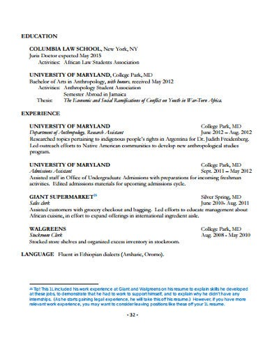college education application resume