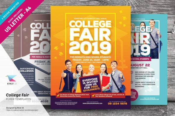 college fair event flyer template