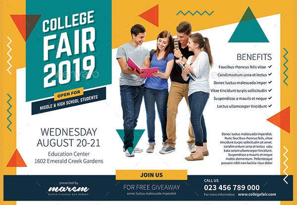 college fair poster flyer in psd