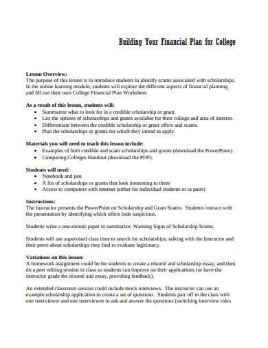 college financial plan format