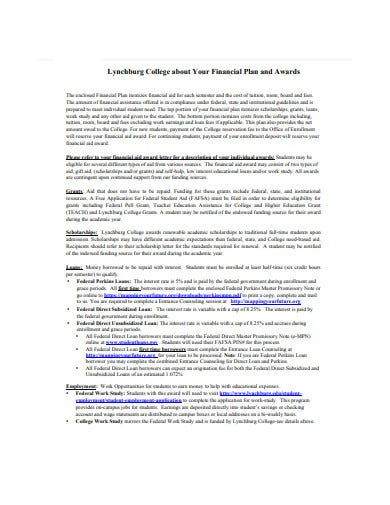 college financial plan template