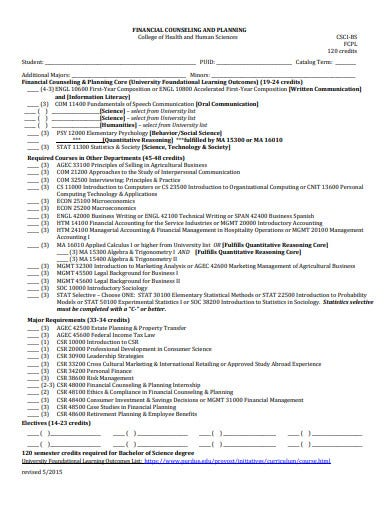college financial plan in pdf