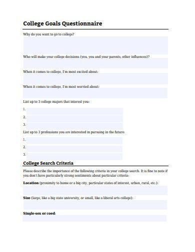 college goals questionnaire