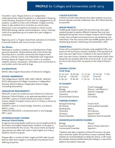 college profile template