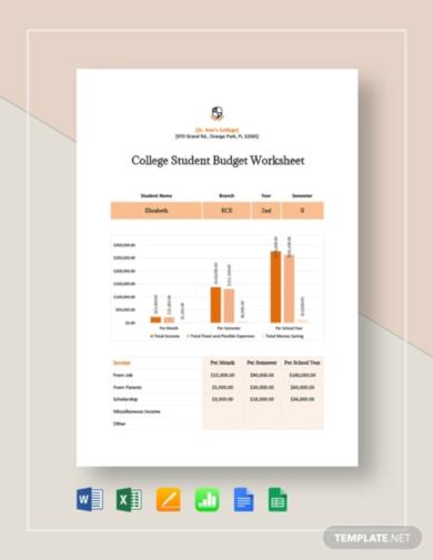 college student budget worksheet