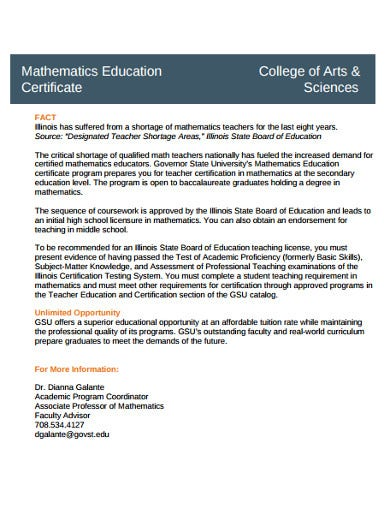 college student education certificate