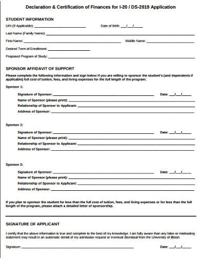 college student information certificate