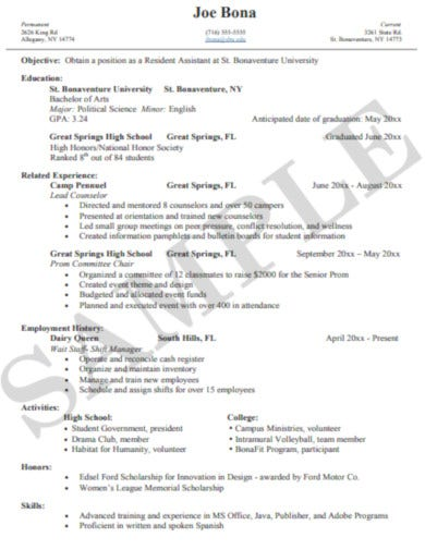 college student sample resume template