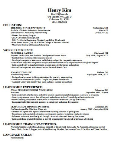 college university resume template