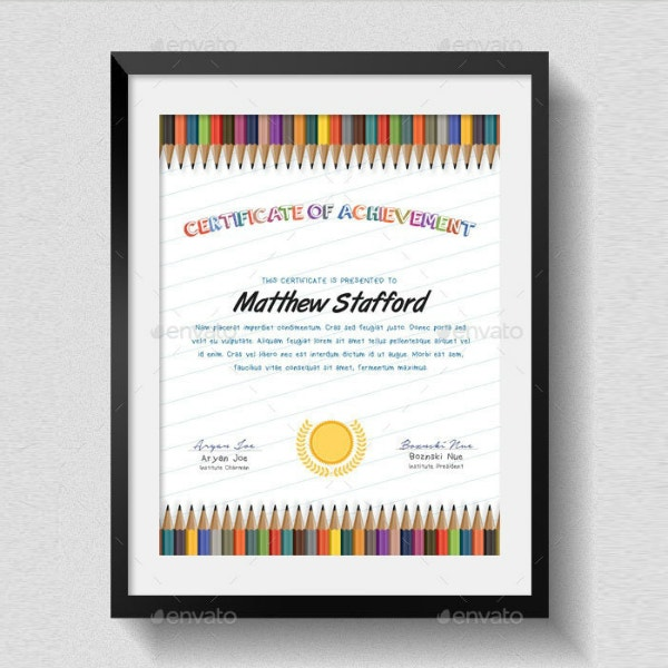 Colored Pencils Kindergarten Certificate Example
