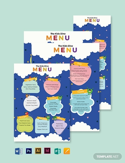 colorful kids dinner menu format