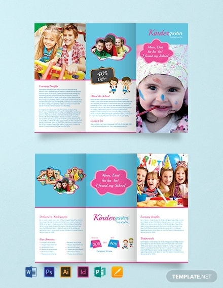 colorful kindergarten brochure template