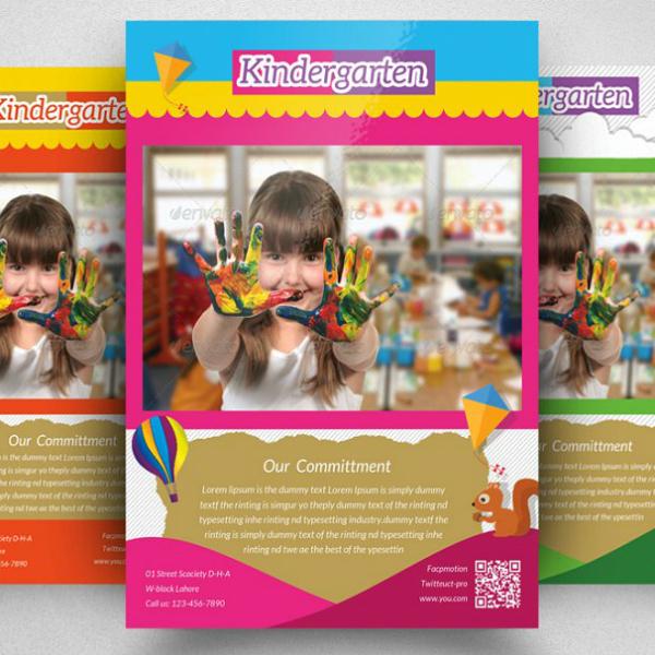 colorful modern kindergarten flyer sample