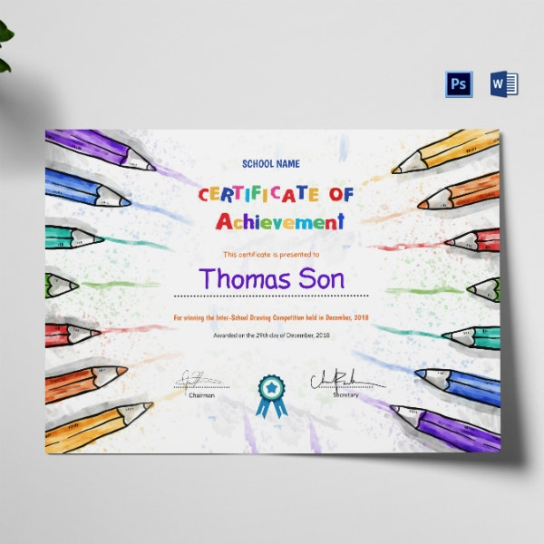 colorful preschool achievement certificate sample