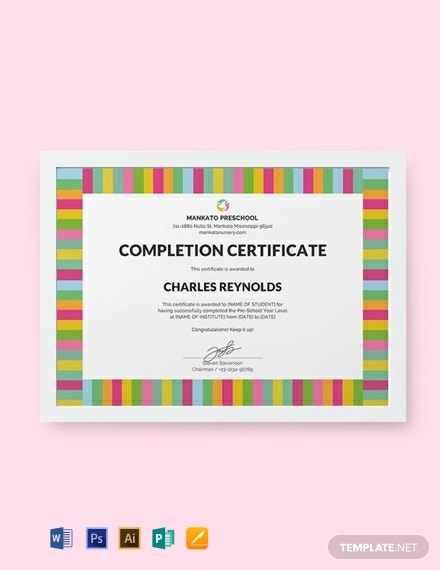 colorful preschool completion certificate example