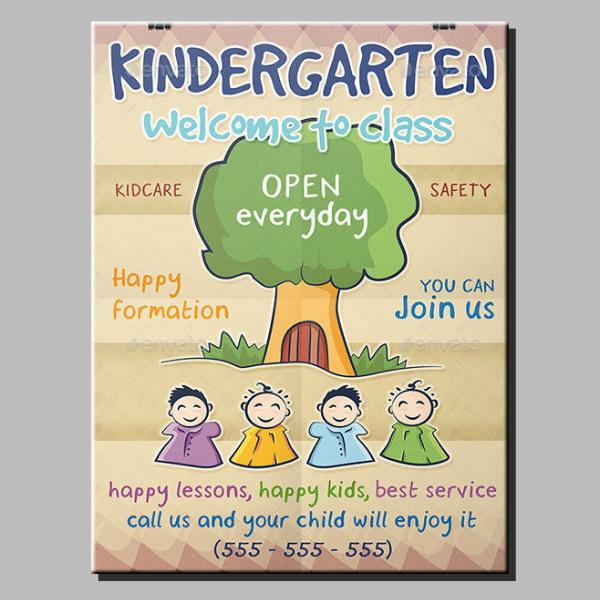 colorful rustic kindergarten flyer layout