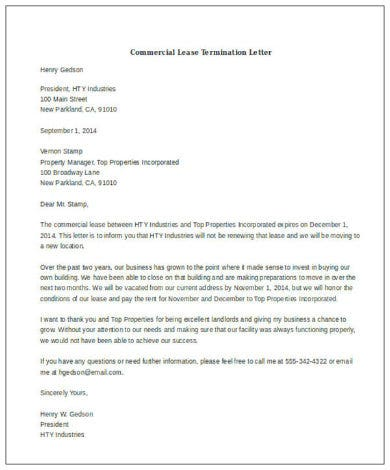 commercial lease termination letter sample1