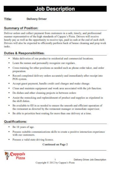 compact delivery driver job description template