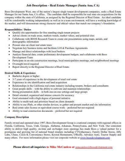 compact real estate manager job description template