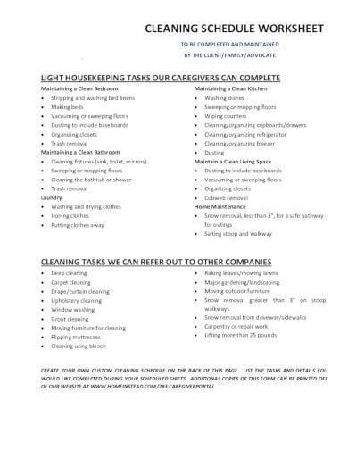 company cleaning schedule in pdf