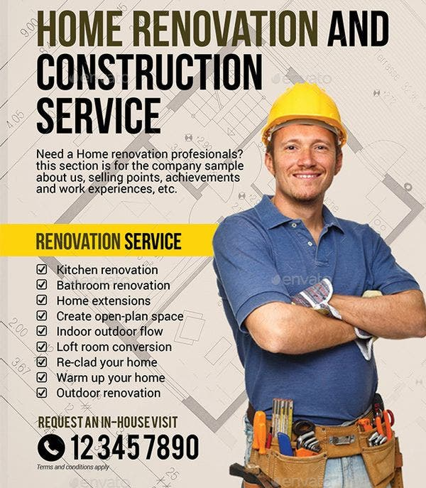 company construction and building flyer template