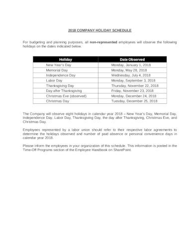 company holiday schedule in pdf