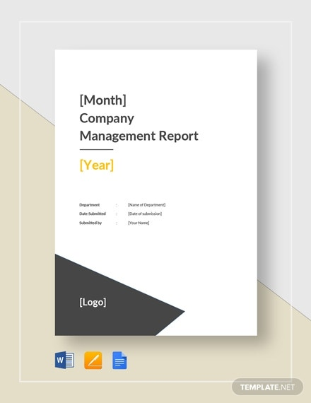 company monthly management report template