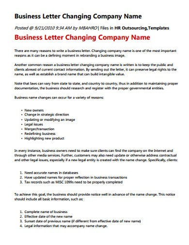 company name change letter template