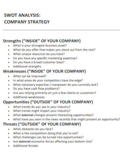 company swot analysis in pdf