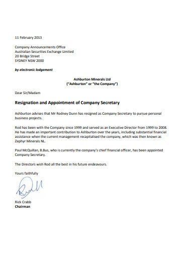 14+ Company Secretary Resignation Templates in PDF | Free ...