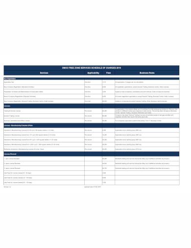 company service schedule in pdf