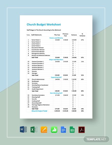 comprehensive church budget worksheet template
