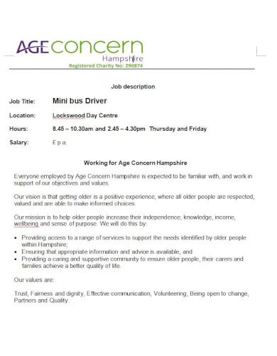 comprehensive driver job description template