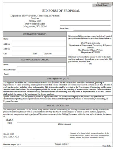construction bid form of proposal template