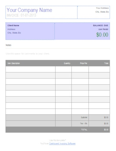 construction business invoice template
