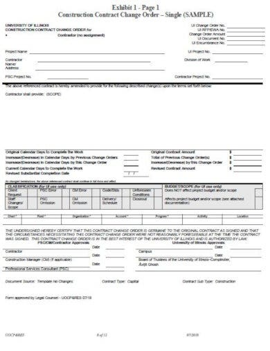 construction change order amendment template