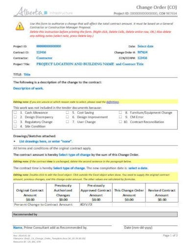 construction change order template docx