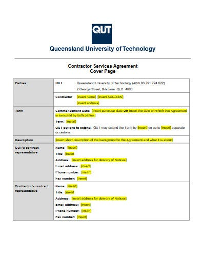 construction contractor services agreement free