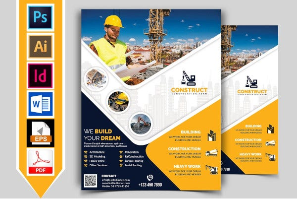 construction flyer template with illustrations