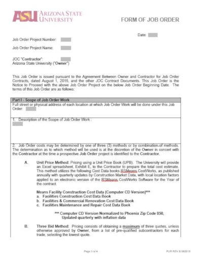 construction form of job order template