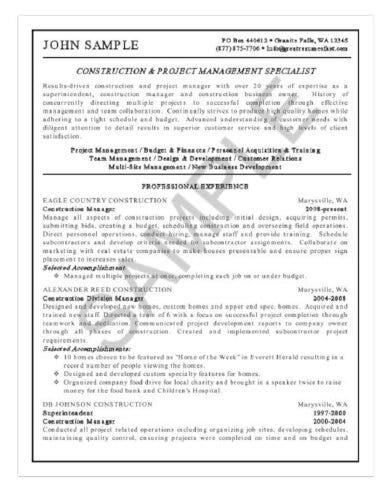 construction manager resumetemplate