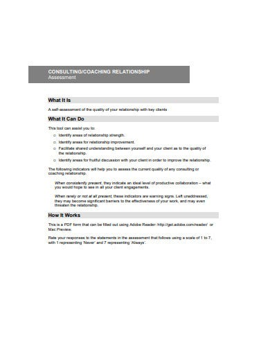 consulting coaching relationship assessment
