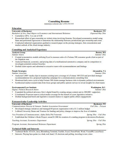 consulting resume template