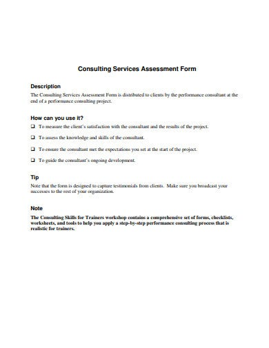 consulting services assessment form template