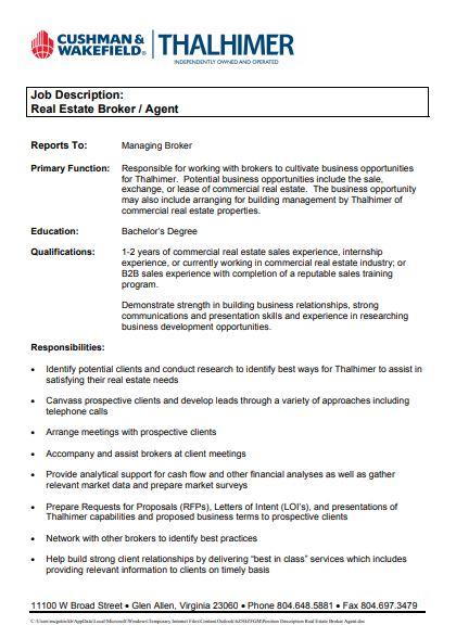 contemporary real estate broker agent job description