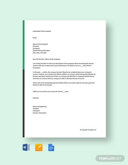 contract termination letter due to poor performance