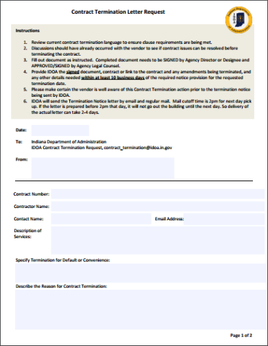 contract termination letter request template