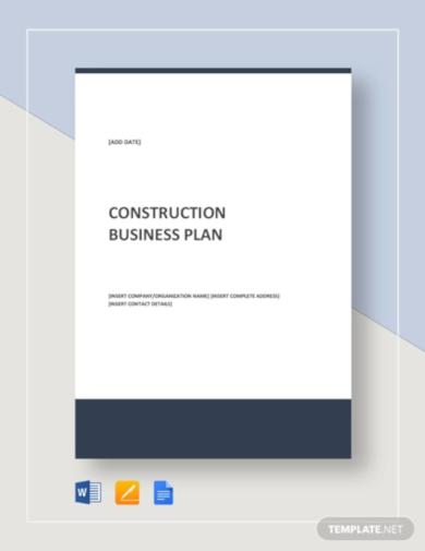 corporate construction business plan template