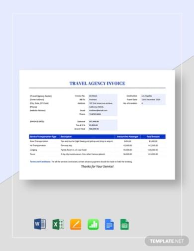 corporate travel invoice template